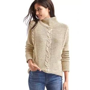 Gap Plait Cable-Knit Mockneck Sweater L Oatmeal